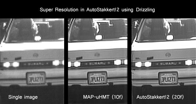 From left to right: original image. 10 frames using the MAP-uHMT algorithm, and AutoStakkert!2 results using 20 frames.Notice the huge increase in resolution!